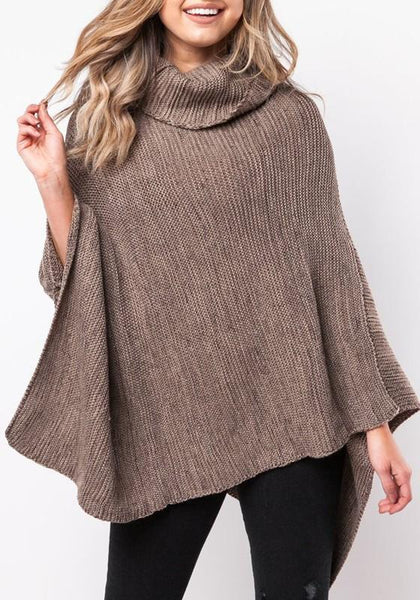 Coffee Striped Irregular Cape High Neck Casual Pullover Sweater