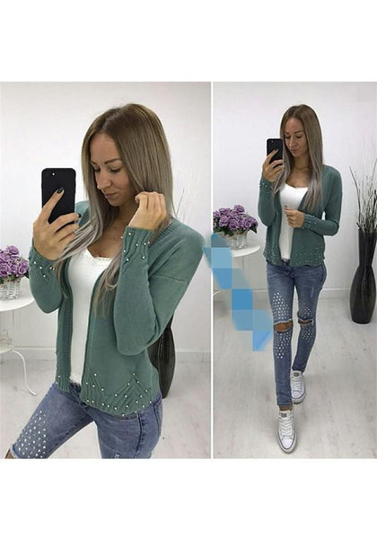 ByChicStyle Army Green Pearl Long Sleeve Casual Cardigan Sweater