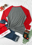ByChicStyle Grey Patchwork Monogram Print Long Sleeve Round Neck Casual Christmas T-Shirt