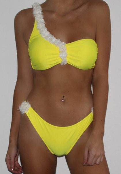 Yellow Plain Asymmetric Shoulder Collarless Cotton Blend Swimwear