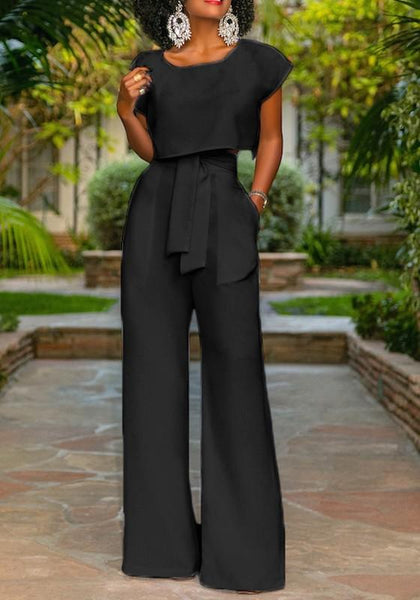 Black Pockets 2-in-1 Drawstring Waist Fashion Long Jumpsuit