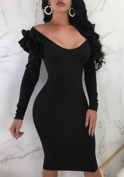 Black Ruffle Zipper Off Shoulder Backless Bodycon Elegant Party Midi Dress