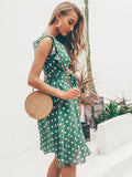 ByChicStyle Summer Polka Dot Boho Ruffles Bohemian Beach Midi Dress