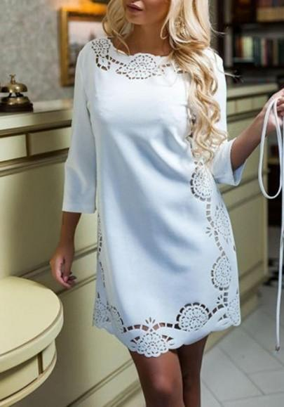New Women White Solid Color Hollow-out Round Neck 3/4 Sleeve Cute Loose Mini Dress