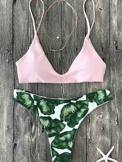 Casual Pink Up Leaf Print Halter Bikini Set