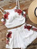ByChicStyle Casual Rose Halter Embroidered Crop Top Shorts Set
