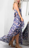 ByChicStyle Casual Boho Multi Color Strappy Bohemian Style Floral Print Dress