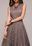 ByChicStyle Brown Polka Dot Draped Tutu Round Neck Elegant Party Midi Dress