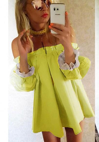 New Women Yellow-White Patchwork Lace Pleated Off-shoulder Lantern Sleeve Cute Mini Dress