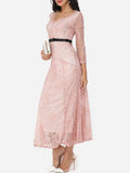 ByChicStyle Lace Rough Selvedge Exquisite V Neck Maxi-dress - Bychicstyle.com