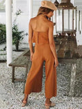 ByChicStyle Off Shoulder Solid Falbala Bohemia Jumpsuits