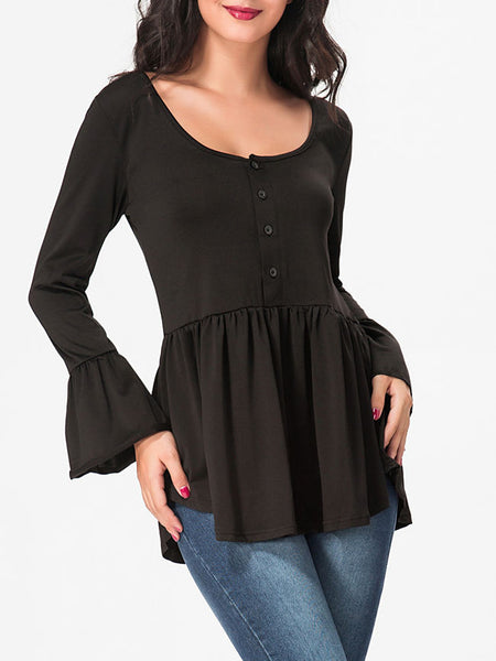 Scoop Neck Ruffled Hem Plain Bell Sleeve Long-sleeve-t-shirt - Bychicstyle.com