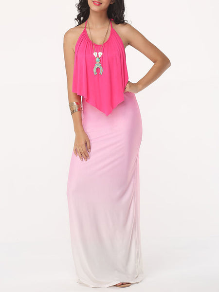 Gradient Fascinating Halter Maxi-dress - Bychicstyle.com