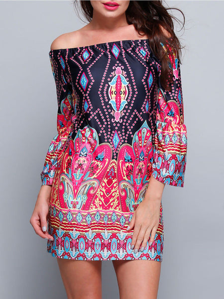 Bohemian Floral Printed Off Shoulder Shift Dress - Bychicstyle.com