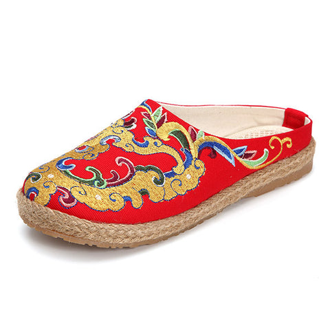 Casual Folkways Embroidered Slip On Flat Backless Loafers