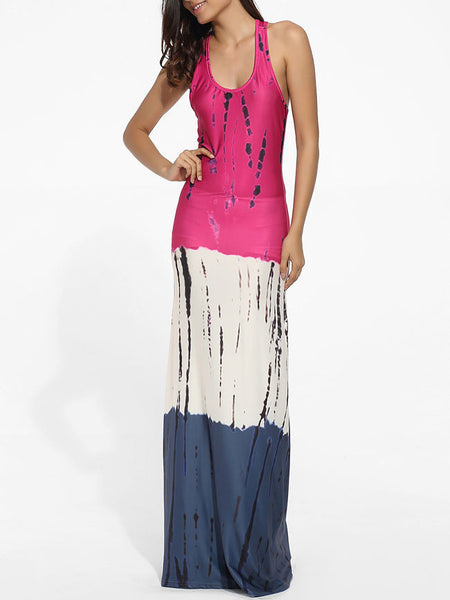 Scoop Neck Dacron Color Block Printed Maxi-dress - Bychicstyle.com