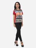 ByChicStyle Bohemian Printed Loose Fitting Crew Neck Short Sleeve T-shirt - Bychicstyle.com