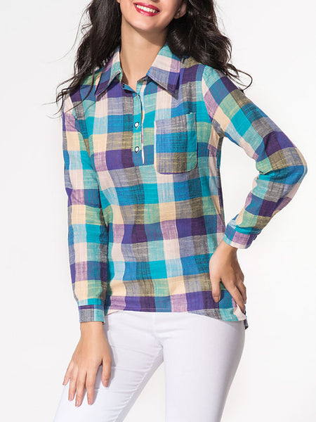 Casual Turn Down Collar Patch Pocket Plaid Blouse