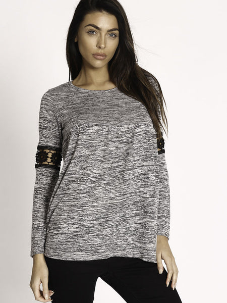 Round Neck Hollow Out Patchwork Plain Long Sleeve T-shirt - Bychicstyle.com