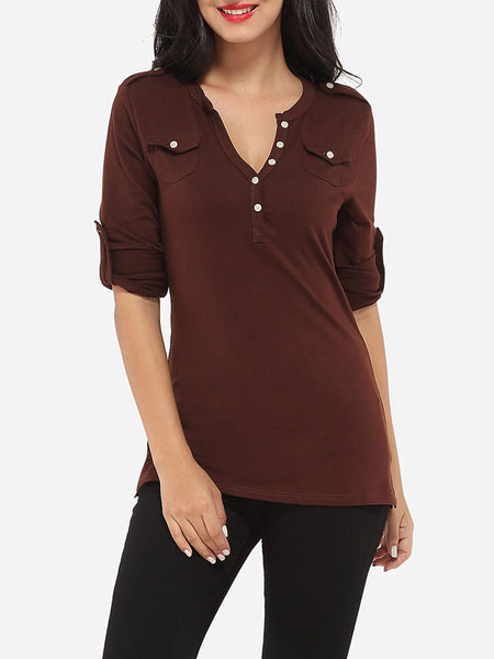 Decorative Buttons V Neck Cotton Plain Long-sleeve-t-shirt - Bychicstyle.com