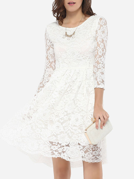 Round Neck Lace Hollow Out Skater Dress - Bychicstyle.com