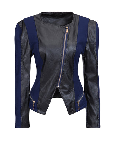 Collarless Leather Zips Patchwork Plus-size-jacket - Bychicstyle.com