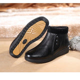 ByChicStyle Casual Button Black Folded Work Casual Ankle Flat Boots For Women