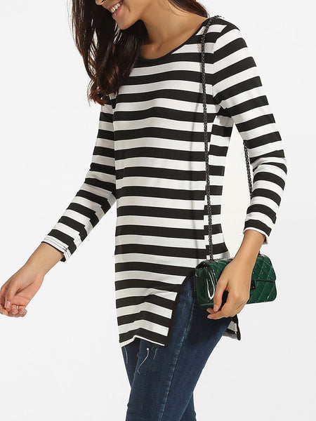 Casual Round Neck Dacron Split Striped Long-sleeve-t-shirt