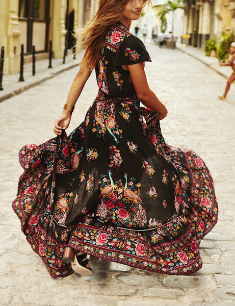 Casual Vintage Deep V Neck Floral Print Dress
