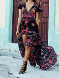ByChicStyle Casual Vintage Deep V Neck Floral Print Dress