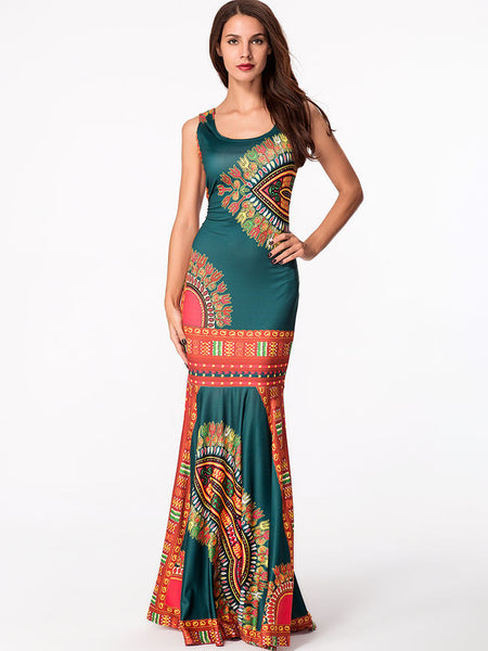 Round Neck Printed Mermaid Maxi Dress - Bychicstyle.com