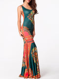ByChicStyle Round Neck Printed Mermaid Maxi Dress - Bychicstyle.com