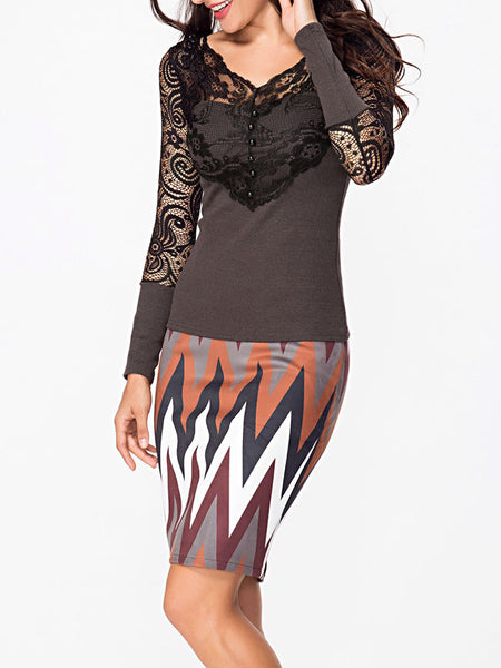 V Neck Lace Patchwork Plain Hollow Out Long Sleeve T-shirt - Bychicstyle.com