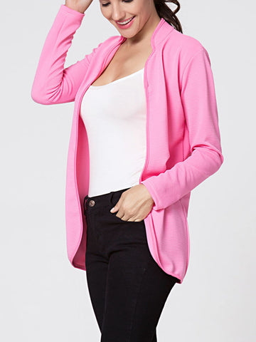 Casual Band Collar Snap Front Plain Blazer