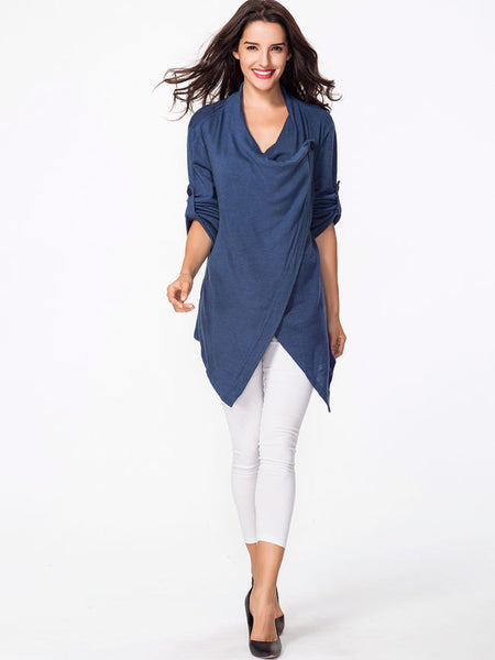 Cowl Neck Plain Asymmetric Hem Vented Sweater - Bychicstyle.com