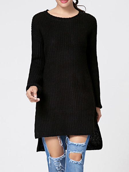Round Neck Plain Side-vented Dip Hem Sweater - Bychicstyle.com