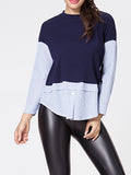 ByChicStyle Crew Neck Striped Patchwork Loose Fitting Blouse - Bychicstyle.com