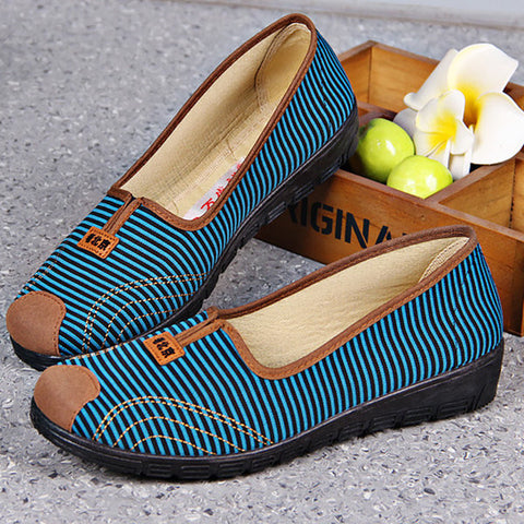 Casual Comfortable Stripe Old Peking Soft Sole Flat Casual Shoes