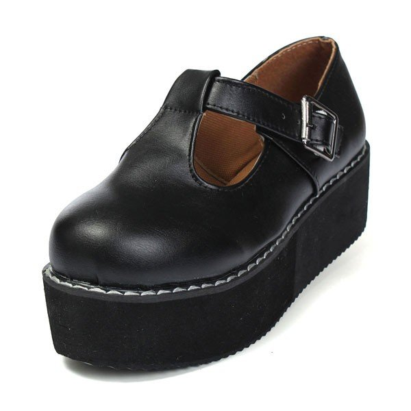 Casual Black PU Leather T-Straps Platform Shoes