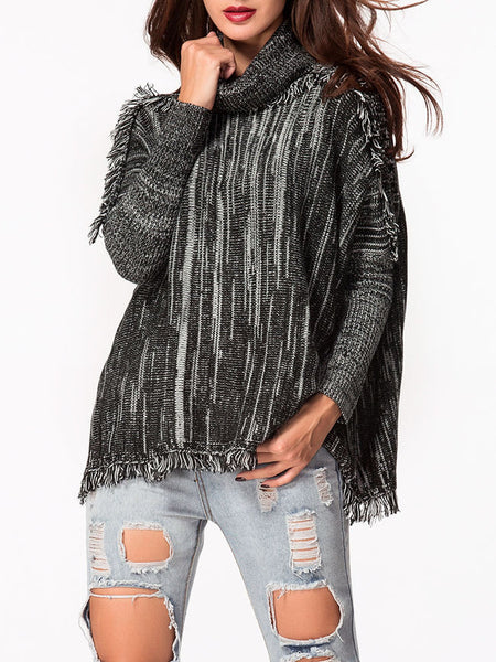 Turtle Neck Loose Fitting Frayed Trim Sweater - Bychicstyle.com