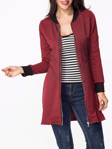 Casual Band Collar Contrast Trim Zips Coat