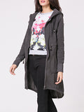 ByChicStyle Hooded Plain Drawstring Asymmetric Hem Zip Coat - Bychicstyle.com