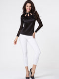 ByChicStyle Crew Neck Hollow Out Diamante Patchwork Long Sleeve T-shirt - Bychicstyle.com