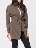 ByChicStyle Casual Band Collar Plain Removable Tie Trench Coat