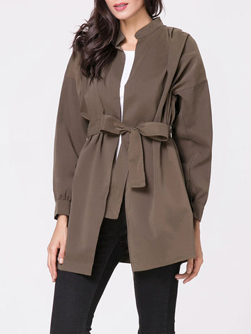 Casual Band Collar Plain Removable Tie Trench Coat