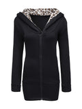 ByChicStyle Fleece Lined Leopard Printed Zip Slit Pockets Hoodie - Bychicstyle.com