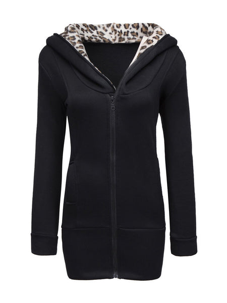 Fleece Lined Leopard Printed Zip Slit Pockets Hoodie - Bychicstyle.com