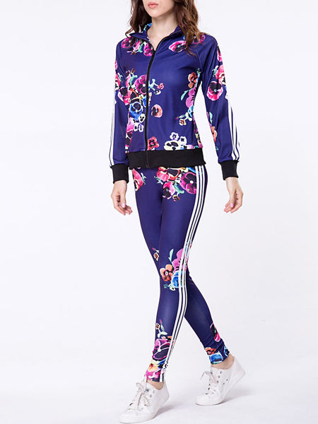 Lapel Zips Floral Printed Jacket And Slim-leg Pant - Bychicstyle.com