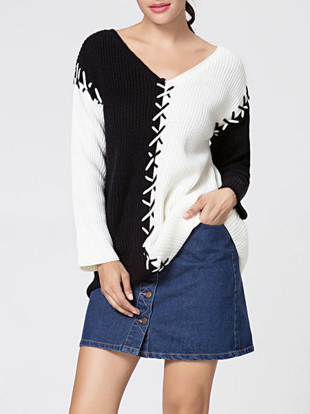 V Neck Lace-up Color Block Loose Fitting Sweater - Bychicstyle.com