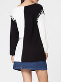 ByChicStyle V Neck Lace-up Color Block Loose Fitting Sweater - Bychicstyle.com
